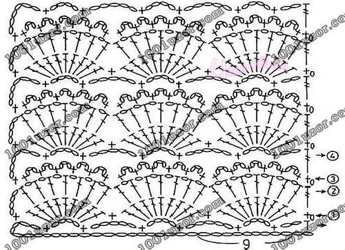 Вариант вязания узора Веера 1