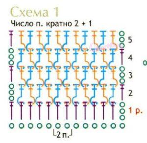 Схема резинки из рельефных столбиков